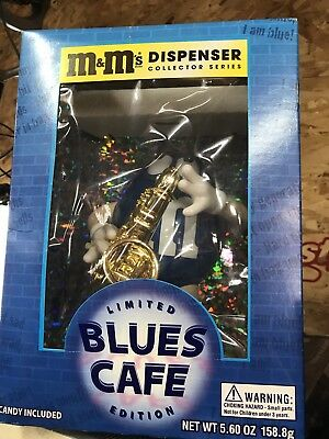 NEW M&M's Limited Edition Blues Cafe Saxaphone Collector Series Dispenser Peanut