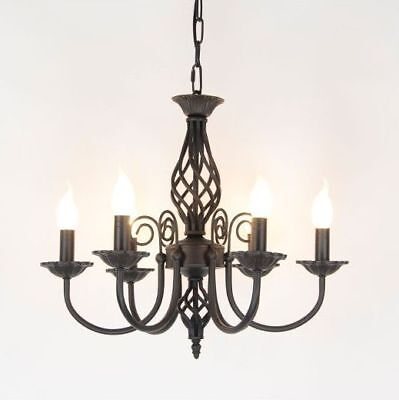 Wrought Iron Chandelier Candle Light Lamp Vintage Style Hanging Pendant Fixtures