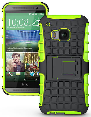 Neon Lime Green Grenade Grip Rugged Skin Hard Case Cover Stand For Htc One M9