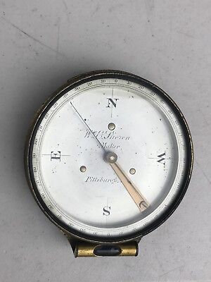 Rare 1863 To 1888 William E Stieren Brass Transit Compass Pittsburgh Pa