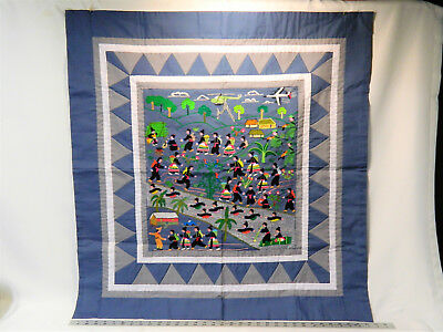 Rare Vintage Hmong War Hand-Stitched Story Cloth!