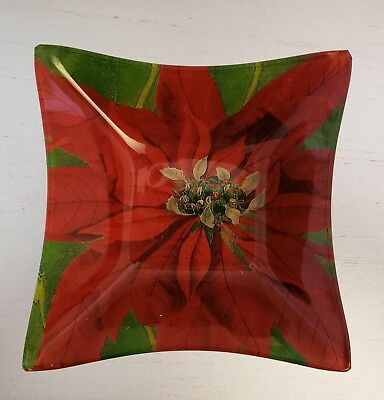 New ANNIE MODICA Pointsettia gold foil glass bowl Decoupage Christmas