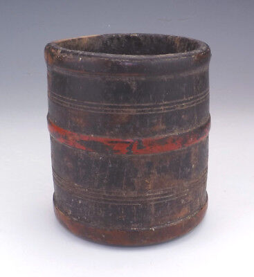 Antique African Tribal Art - Patinated Turned Wood Brush Pot - Unusual!