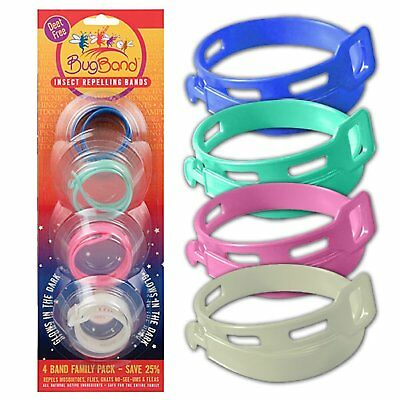 BugBand Repellent Wristband Family Pak 4 Assorted Colors
