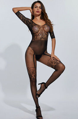 Sexy Lingerie Fishnet BLK Floral Long Sleeve Length Bodystocking Bodysuit Tights