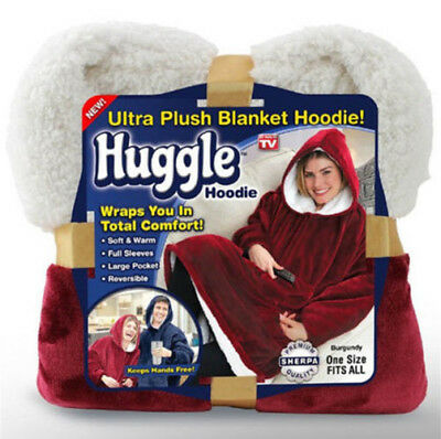 Huggle Hoodie Ultra Plush Blanket Hoodie Soft and Warm, One Size - As Seen On TV