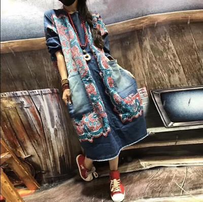 Womens Girls Denim Printing Sweaterdress Casual Loose Fit pullover Long Jeans