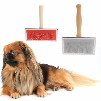 Dog Pet Grooming Comb Shedding Hair Remove Brush Wood Handle Slicker Cat Supply