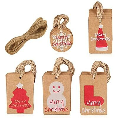 100 Pcs Christmas Hat Kraft Paper Gift Tags Scallop Label Luggage Blank