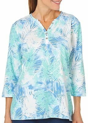 Coral Bay Womens Tropical Palm Leaf Button Top