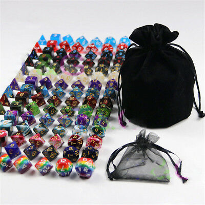 105Pcs/Set 7 Colors Polyhedral Game Dice Rainbow Dice for Dungeons & Dragons DND