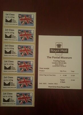 Gb Post & Go Postal Museum 1St Class U/flag Strip Of 6 Undated With Logo