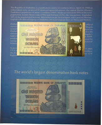 Zimbabwe 100 Trillion Banknote Collector Pack - Cover and 24K Gold Note (Zm1FCC)