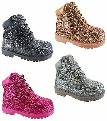 Childrens Winter Warm Faux Fur Comfort Glitter Boots Kids Girls Ankle Shoes Size