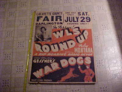 Vintage Old WWII Era Poster Country & Western Patsy Montana Gessner's War Dogs