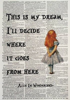 A3 Size Alice In Wonderland Print Vintage Dictionary Page Wall Art Picture Quote