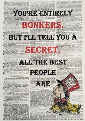 A3 Alice In Wonderland Vintage Dictionary Page Wall Art Picture Bonkers Quote