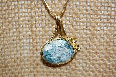 Or Paz Sterling Silver  & 14K Gold Plated Roman Glass Pendant Necklace
