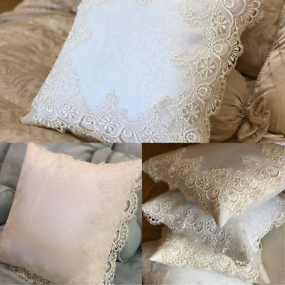 Luxury Pair Of White / Gold Vintage Antique Lace Cushion Covers Crochet Knit