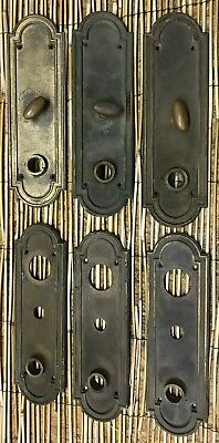 Lot Of 6 antique Larger Door Knob Escutcheons Back Plates Heavey Cast Brass