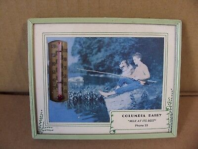 Vtg Antique Advertising Thermometer Columbia City, Indiana IN.?? Dairy Phone 33