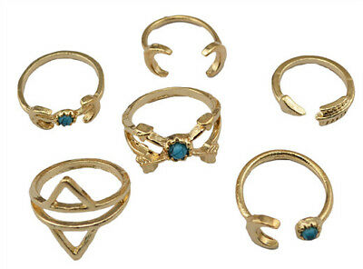 Charm Designer Jewelry Gold 6pcs Sets Bead Sword Moon Star Finger Joint Ring