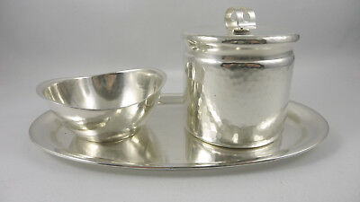 Exceptional German ART DECO 3 pce serving set WMF hammered design silverplated