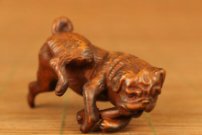 Chinese lovely Old Boxwood Hand Carved dog Statue Figure netsuke  home Deco