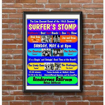 Surfer Stomp Concert Poster -California Surf Bands Surfaris Jan & Dean Dick Dale