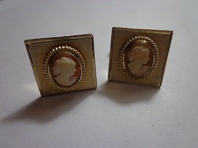 Vintage 50's Shell Cameo Cuff Links