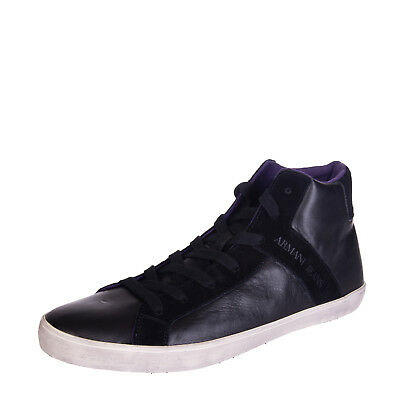 ARMANI JEANS Leather High Top Sneakers Size 46 UK 11.5 Debossed Logo RRP €200
