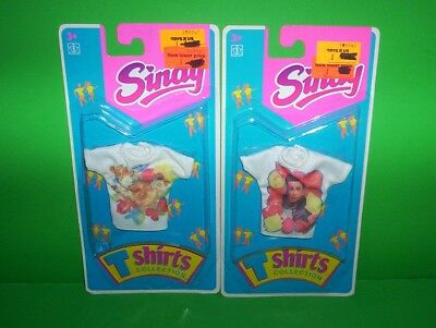 2 Sindy Doll Outfit T-Shirts Collection Clothes 1993 Hasbro New