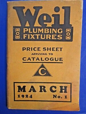 Vintage 1924 Weil Plumbing Fixtures Catalog/ Price Sheet No.1 March w/ Photos!
