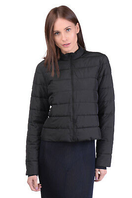 ANNARITA N Quilted Jacket Size 42 / S Black Padded Stand-Up Collar Made in Italy