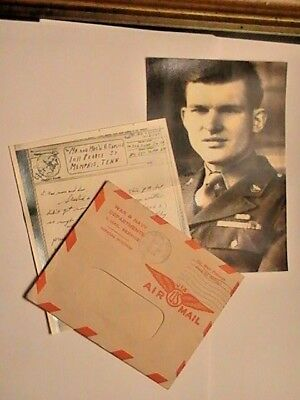 WW2, MY PERSONAL AIR MAIL V- MAIL WITH CENSOR STAMP,MY 1943 PHOTO. See Memo