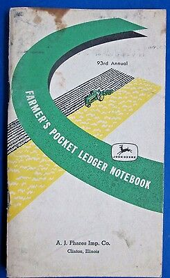 1959-1960 John Deere Farmer's Pocket Ledger Notebook 93rd Annual Copyright 1958
