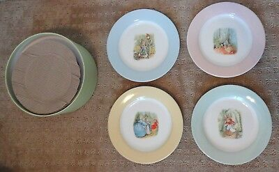 Pottery Barn Kids Peter Rabbit Porcelain Plates NEW Set of 4 NIB 9""