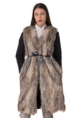 LIU JO Coat Size 44 / M 2in1 Padded Contrast Faux Fur Removable Sleeves