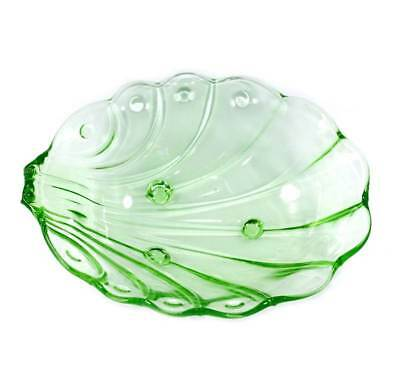 Vintage Stolzle green depression glass shell shaped footed large bowl