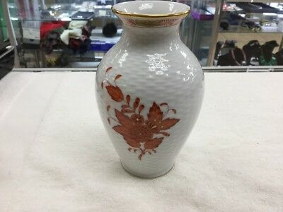 Herend 6963 Aog Chinese Bouquet Rust And White Vase Hungary Hvngary