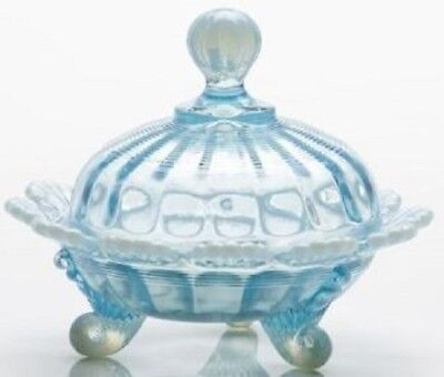 Covered Candy Dish / Berry Bowl - Aqua Opalescent Glass - Mosser USA
