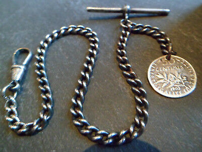 Antique Silver Tone Albert Pocket Watch Chain with a Solid Silver 1903 Coin Fob