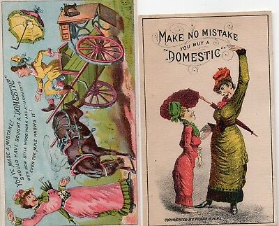 2 Domestic Sewing Machine Trade Cards, Buy a Domestic!