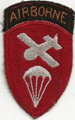 """Rare Original Wwii """"abn Glider Cmd"""" Patch - Fully Emb With White Cotton Thread"""