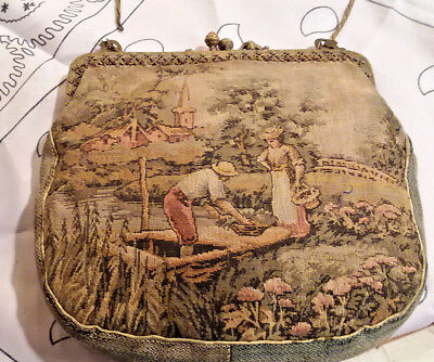 Beautiful Antique Woven Tapestry and Jeweled Hand Bag.  Made in Austria