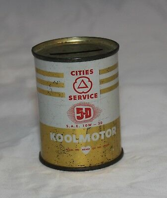 Cities Service 5-D Koolmotor Vintage Miniature Oil Can  Advertising Promo Bank