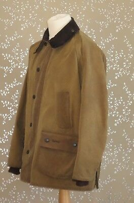 BARBOUR Bedale Wax Jacket 44 Brown Coat Tan Green Tartan Lining RARE Version