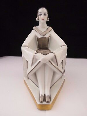Very Rare Geometric Art Deco Limoges Perfume Lamp Circa 1930's
