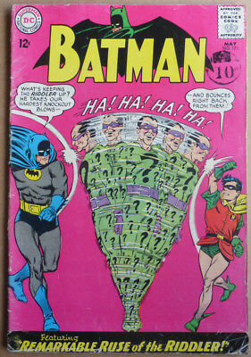 BATMAN #171, CLASSIC COVER WITH 1st SILVER AGE 'RIDDLER', 1965.