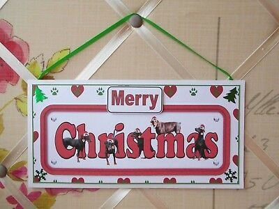Handmade Doberman Dogs Merry Christmas Sign Hanging Plaque Decoration Dobermann